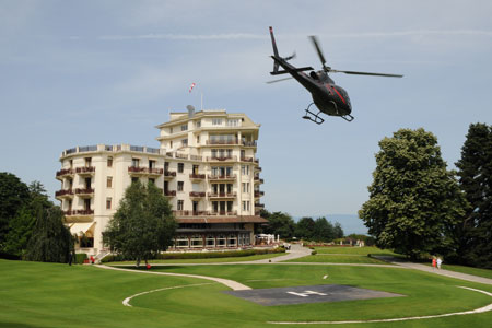 Arrive in style at Hotel Royal's helipad