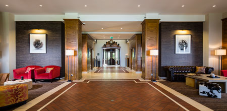 Informal and welcoming. The lobby at Hotel Ermitage