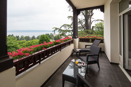 Lake Geneva panorama from Hotel Ermitage