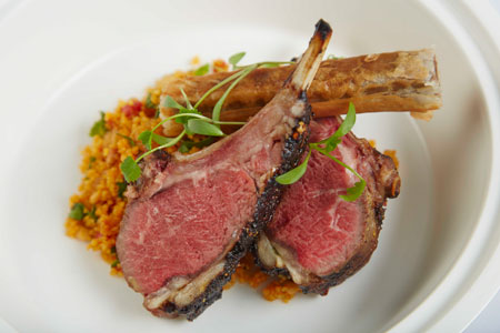 Rack of lamb couscous and olive jus