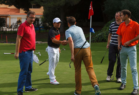 Handshakes, retiring to the 19th hole then back to the luxury villa
