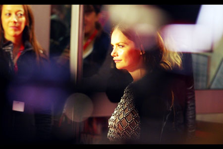 Ruth Wilson in glare of the flashbulbs