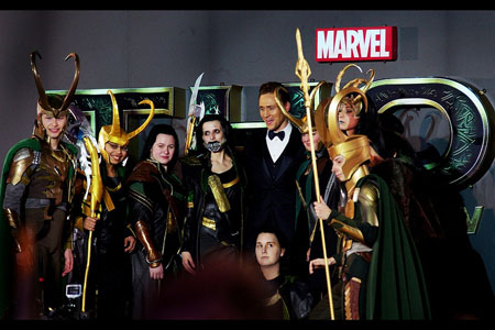 Tom Hiddleston and the Viking hordes at Marvel Comics