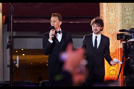 Tom addresses the Gods  of Leicester Square
