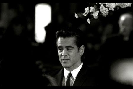 Colin Farrell in black and white