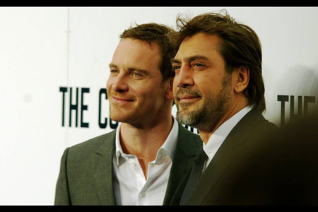 Michael Fassbender and Javier Bardem face the cameras