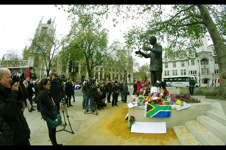 Floral tributes to Nelson Mandela on his death at the South African Embassy, Trafalgar Square, London