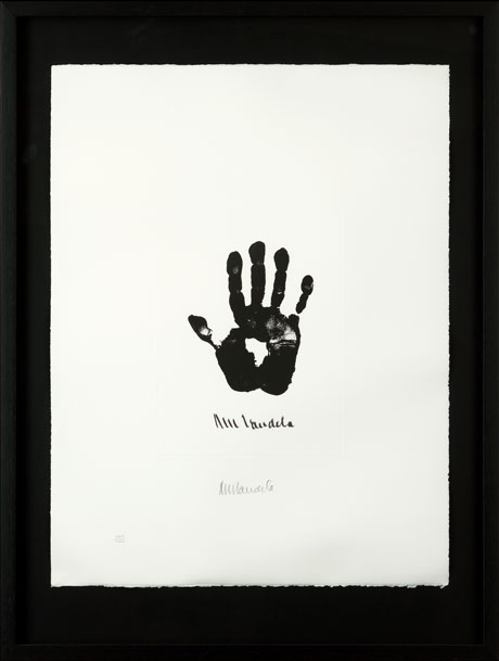 The Hand of Africa Medium: Limited edition signed lithograph Size: W:50cm x H:65cm Price: £15,000 An iconic image the world over, this print of Mandela's right hand includes an outline that closely resembles the continent of Africa.