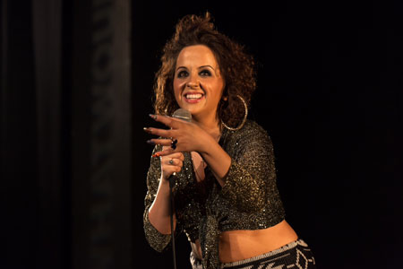 Luisa Omielan on stage the Soho Theatre, London