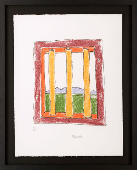 The Window Medium: Limited edition signed lithograph Size: W:50cm x H:65cm Price: £15,000 This sketch depicts an idealised view of Table Mountain through the bars of a prison cell on Robben Island, and resembles freedom and beauty to Nelson Mandela.