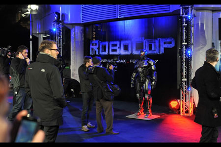 Press outside the IMAX with Robocop