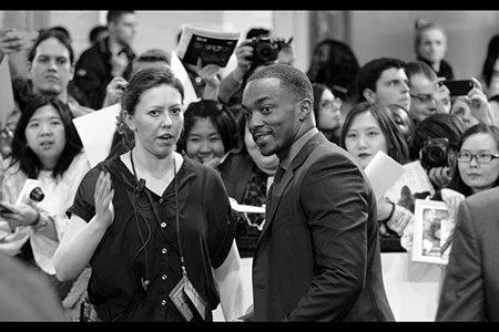 Anthony Mackie negotiates the crowd