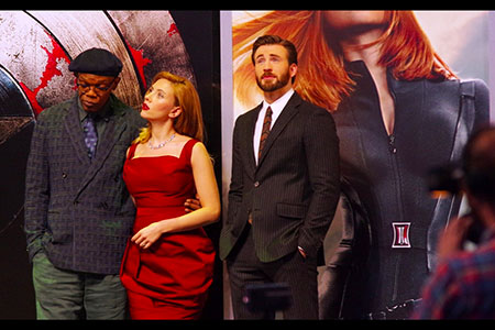 Samuel L Jackson, Scarlett  Johansson and Chris Evans
