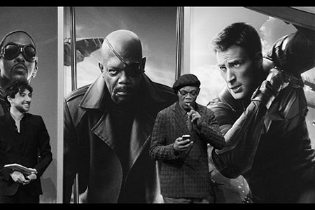 Samuel L Jackson in black and white