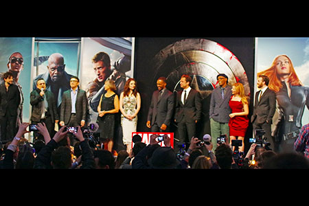 Captain America, The Winter Soldier, cast assemble on stage
