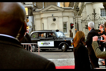 Muppets arrive in style... by London cab