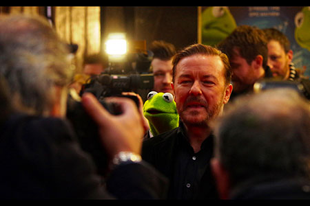 Ricky Gervais with the paps