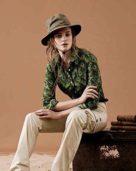 Peacock shirt with safari trousers