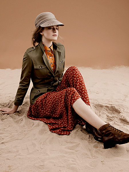 Tailored safari jacket and relaxed skirt