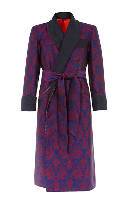 Tailored maroon robe with elephant print