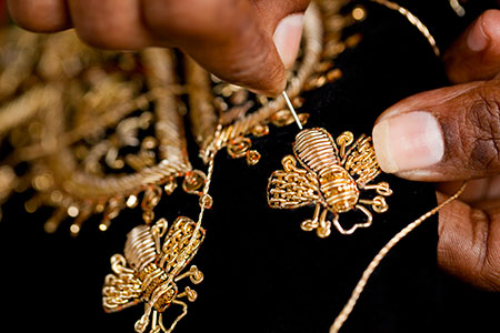 Ancient Indian craft techniques using gold thread