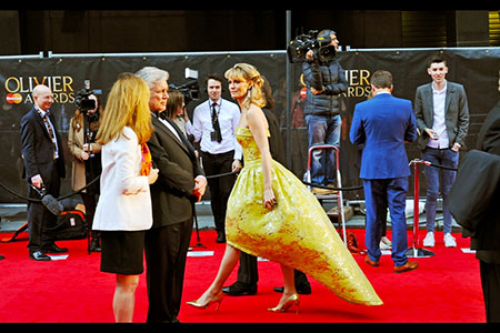 Unidentified, but striking golden lady on the red carpet