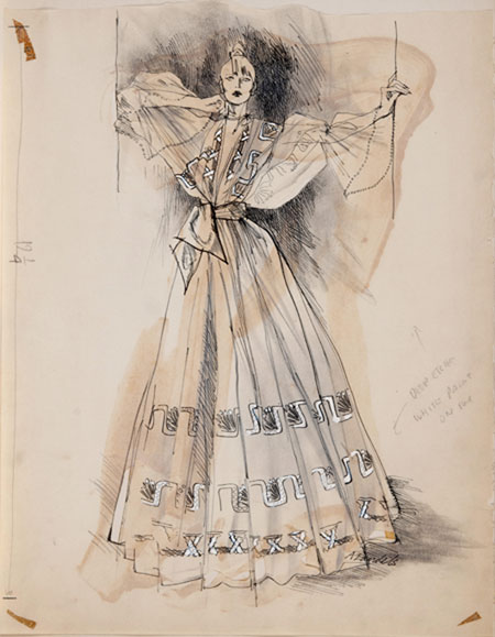 Angela Landels  (1935 - ) Zandra Rhodes - Jubilee I Original Fashion Illustration Commissioned for Harpers & Queen C1972, Pencil & Wash, signed 49 x 38 cms £3,500