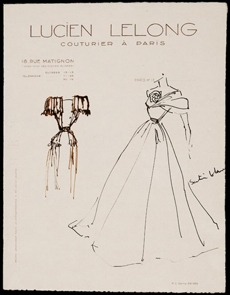 Christian Dior (1905 - 1957) Original Fashion Drawing 'Satin Blanc' Inscribed Pen & Ink on Cream Lucien Lelong Headed Paper 28 x 22 cms £5,500