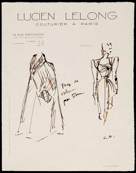 Christian Dior (1905 - 1957) Original Fashion Drawing 'Trop Tissue' Initialed & Inscribed CD Pen & Ink on Cream Lucien Lelong Headed Paper 28 x 22 cms £5,500