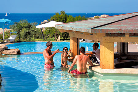 Resort Valle dell'Erica, Licciola Hotel, swimming pool bar. Sardinia