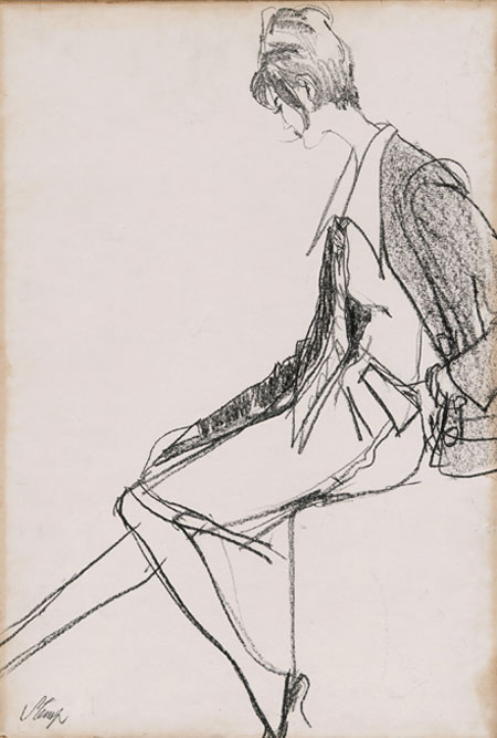 Eric Stemp (1924 - 2001) Original Fashion Drawing of Model Sevilla Hercolani C1960's, Charcoal on Paper, signed 56 x 38 cms £2,500
