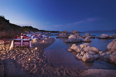 Resort Valle dell'Erica, dining on the beach. Sardinia