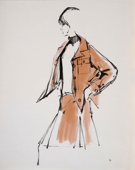 Eva Aldbrook (1925 - ) Dior Model II Original Fashion Illustration of Dior Model Christine Tidmarsh 1956, Mixed Media, signed 54 x 36 cms £1,600
