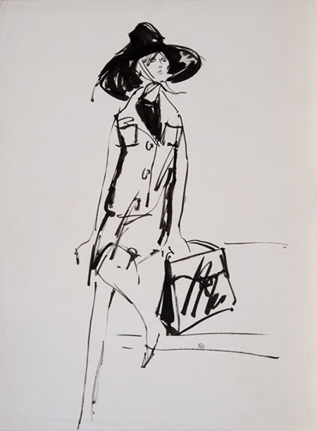 Eva Aldbrook (1925 - ) Dior Model III Original Fashion Illustration of Dior Model Christine Tidmarsh 1956, Mixed Media, signed 54 x 36 cms £1,500