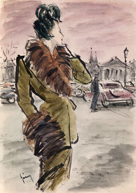 Gerd Grimm (1911 - 1998) Original Fashion Illustration for German Magazine 'Frau im Speigel' 1947, Indian Ink & Watercolour, signed 42 x 30 cms £5,000