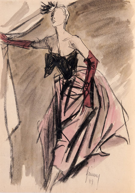 Gerd Grimm (1911 - 1998) Original Fashion Illustration of Evening Dress for German Magazine 'Frau im Speigel' 1949, Indian Ink & Watercolour, signed 40 x 33 cms £4,500