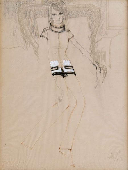 Gustav Falk (1926 - 2011) Original Fashion Illustration for French Magazine 'Jardin des Modes' Model Wearing Courrèges C1965, Ink, Pencil & White Gouache, signed 64 x 48 cms £1,500