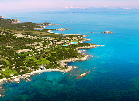 Resort Valle dell'Erica, aerial shot of coastline. Sardinia