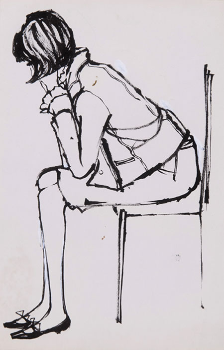 May Routh (1934 - ) Original Fashion Illustration of Model Seated C1960's, Ink on Paper 35 x 23 cms £800