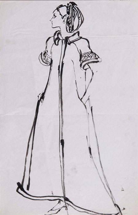 May Routh (1934 - ) Original Fashion Illustration of Model Sevilla Hercolani C1960's, Ink on Paper 43 x 28 cms £800