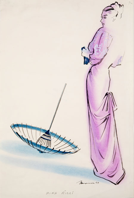 Maynard ( - ) Original Fashion Illustration for Nina Ricci 1946, Ink & Watercolour, signed 48 x 32.5 cms £2,500