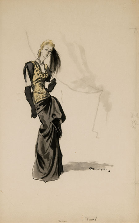 Pierre Mourgue ( - ) Original Fashion Illustration Femme 1946, Ink & Watercolour, signed & inscribed 46 x 29 cms £5,000
