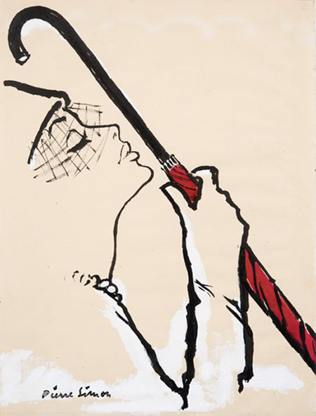 Pierre Simon (1907 - 1999) Original Advertising Fashion Illustration Woman with Umbrella 1950, Ink & Gouache, signed 35.5 x 27 cms £3,500