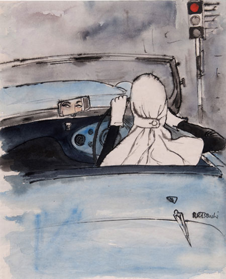 René Bouché(1905 - 1963) Original Cover Illustration Commissioned for British Vogue 1953, November Issue, Watercolour on Paper, signed 56 x 46 cms £10,000