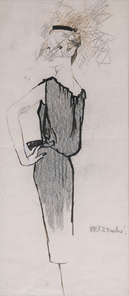 René Bouché (1905 - 1963) Original Fashion Illustration Model in Cocktail Dress & Pillarbox Hat with Veil C1950's, Ink & Pencil on Paper, signed 61 x 27 cms £3,500