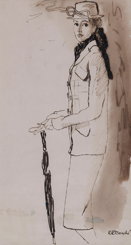 René Bouché (1905 - 1963) Original Fashion Illustration Model with Hat, Scarf & Umbrella C1940's, Ink & Wash on Paper, signed 40 x 22 cms £3,500