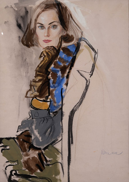 Brian Stonehouse M.B.E. (1918 - 1998) Original Working Fashion Illustration for US Magazine C1950's, Mixed Media, signed 60 x 43 cms £3,500