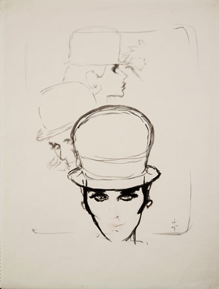 René Gruau (1909 - 2004) Original Fashion Illustration Hat for Jean Barthet for AD Design 1960, Ink, signed 64.5 x 49 cms £6,000