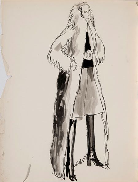 Brian Stonehouse M.B.E. (1918 - 1998) Original Working Fashion Illustration for US Magazine 1970's Winter Fur Coat C1970's, Mixed Media, signed 60 x 46 cms £2,500