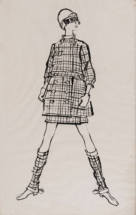 Todd Draz (1917 - ) Original Fashion Illustration Commissioned for Sunday Times Fashion Page Model Wearing Spanish Fashion Design of Checked Suit & Boot Covers C1960's, Ink on Paper 60 x 38 cms £2,500